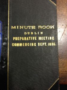 old Quaker book of Meeting Minutes from Quaker House library